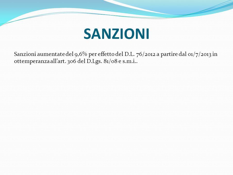 SANZIONI Sanzioni aumentate del 9,6% per effetto del D.L. 76/2012 a partire dal 01/7/2013 in ottemperanza all'art. 306 del D.Lgs. 81/08 e s.m.i..