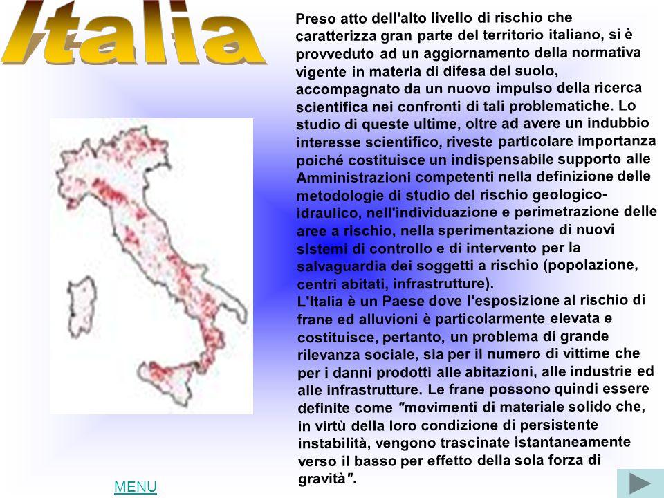 Preso atto dell alto livello di rischio che caratterizza gran parte del territorio italiano, si è provveduto ad un aggiornamento della normativa vigente in materia di difesa del suolo, accompagnato da un nuovo impulso della ricerca scientifica nei confronti di tali problematiche.