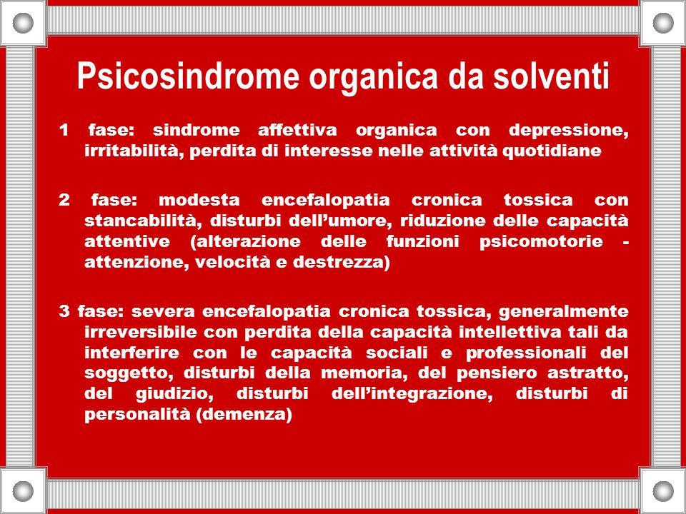 Psicosindrome organica da solventi 1 fase: sindrome affettiva organica con depressione, irritabilità, perdita di interesse nelle attività quotidiane 2