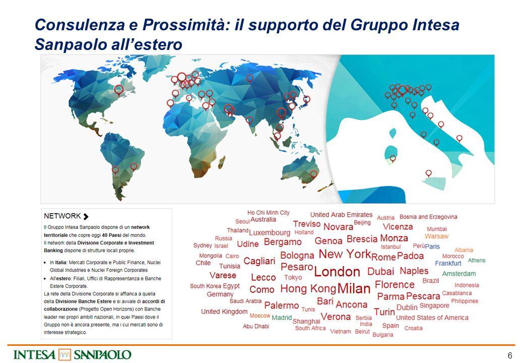 6 Consulenza e Prossimità: il supporto del Gruppo Intesa Sanpaolo all'estero