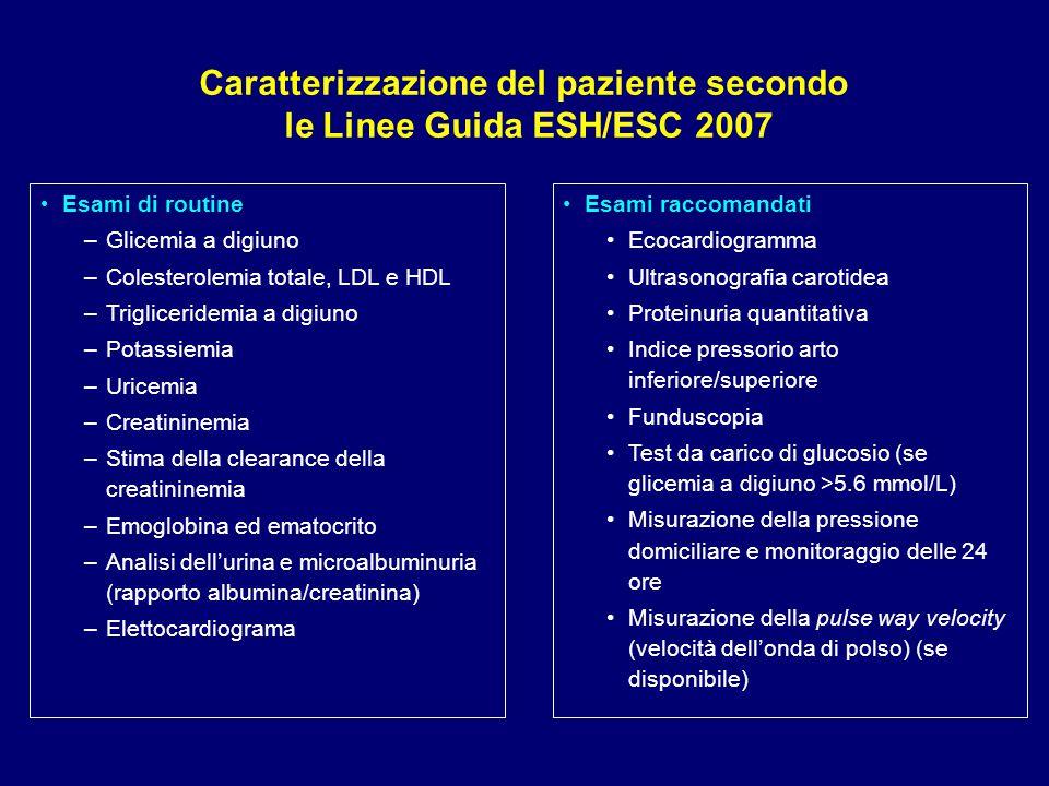Esami di routine –Glicemia a digiuno –Colesterolemia totale, LDL e HDL –Trigliceridemia a digiuno –Potassiemia –Uricemia –Creatininemia –Stima della c