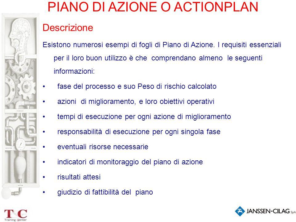 PIANO DI AZIONE O ACTIONPLAN Descrizione Esistono numerosi esempi di fogli di Piano di Azione. I requisiti essenziali per il loro buon utilizzo è che