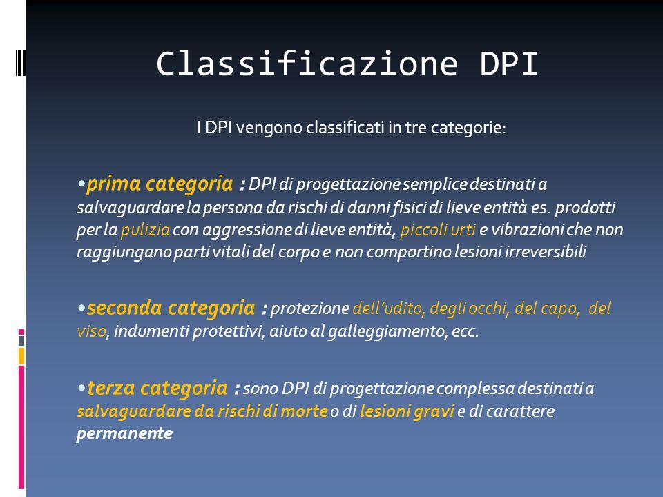 Classificazione DPI I DPI vengono classificati in tre categorie: prima categoria : DPI di progettazione semplice destinati a salvaguardare la persona