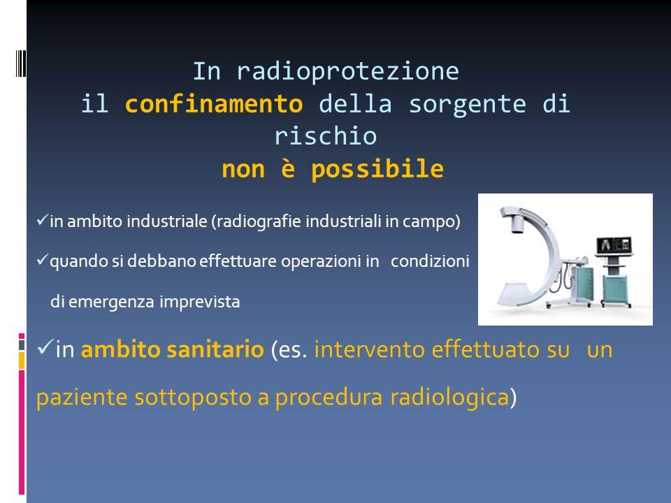 In radioprotezione il confinamento della sorgente di rischio non è possibile in ambito industriale (radiografie industriali in campo) quando si debban
