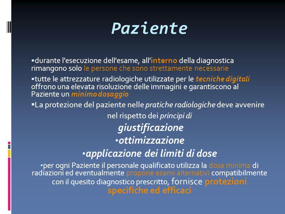 Paziente  durante l'esecuzione dell'esame, all' interno della diagnostica rimangono solo le persone che sono strettamente necessarie  tutte le attre