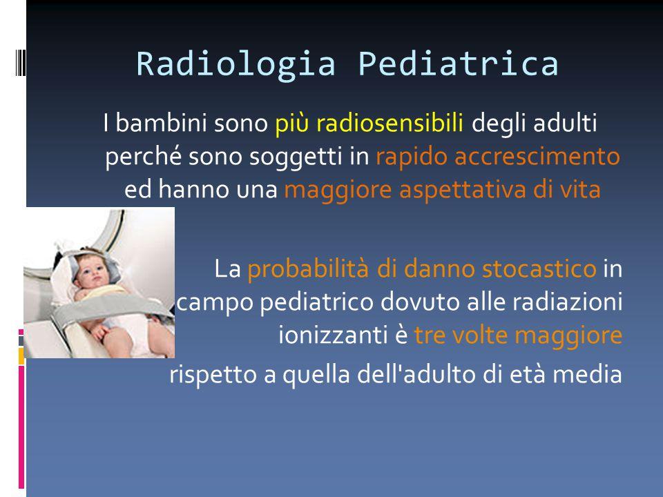 Radiologia Pediatrica I bambini sono più radiosensibili degli adulti perché sono soggetti in rapido accrescimento ed hanno una maggiore aspettativa di