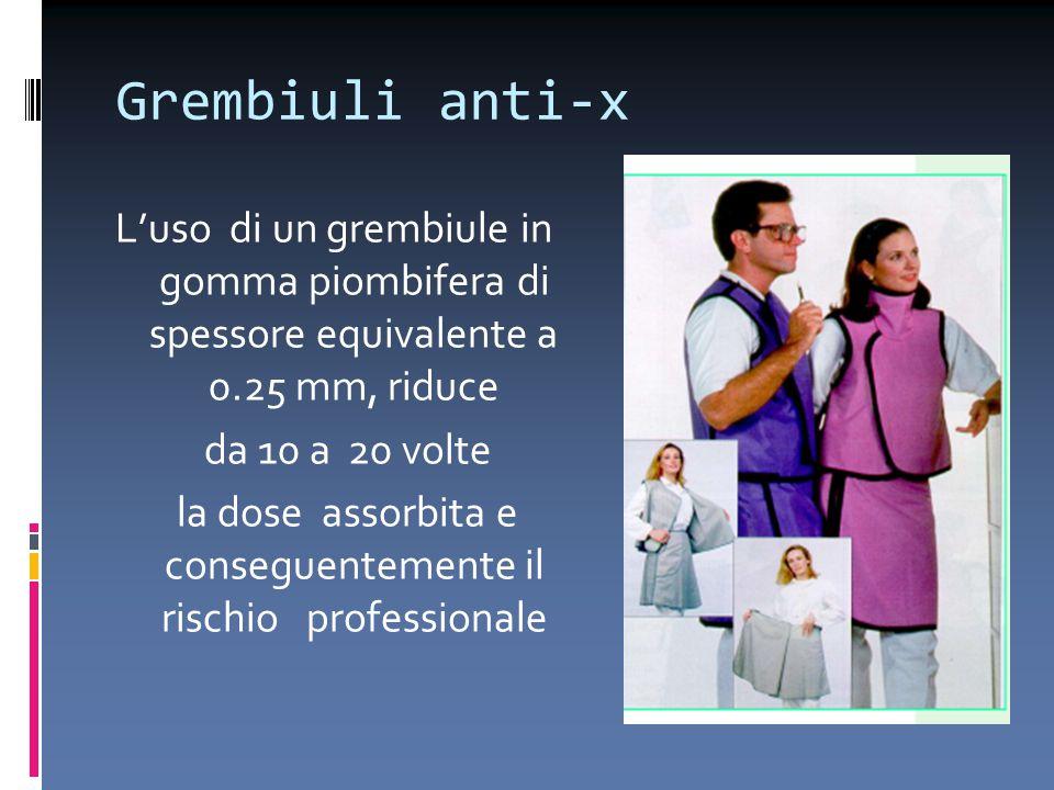 Grembiuli anti-x L'uso di un grembiule in gomma piombifera di spessore equivalente a 0.25 mm, riduce da 10 a 20 volte la dose assorbita e conseguentem