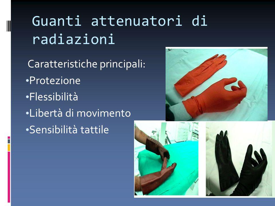 Guanti attenuatori di radiazioni Caratteristiche principali: Protezione Flessibilità Libertà di movimento Sensibilità tattile