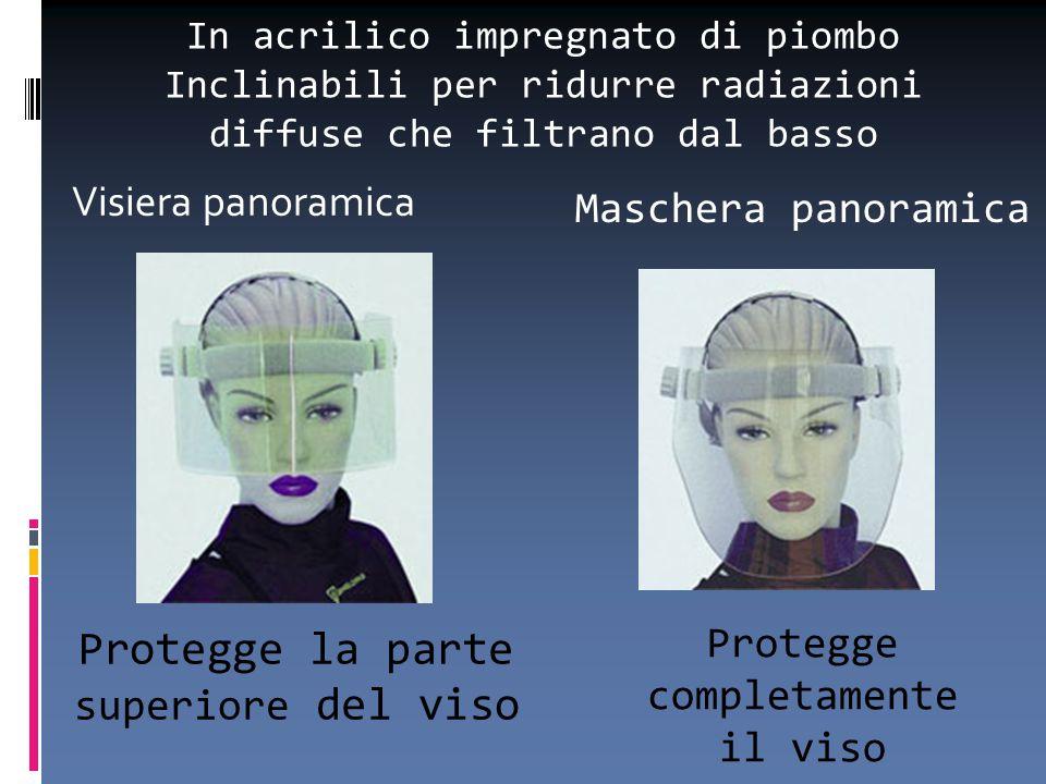 Visiera panoramica Maschera panoramica Protegge completamente il viso Protegge la parte superiore del viso In acrilico impregnato di piombo Inclinabil