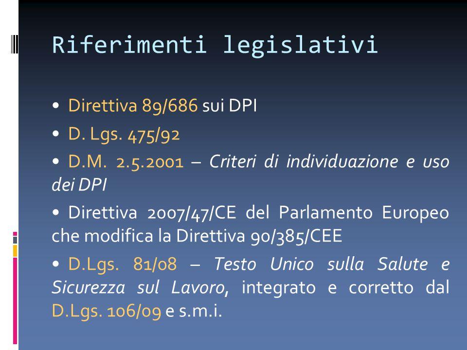 Riferimenti legislativi Direttiva 89/686 sui DPI D. Lgs. 475/92 D.M. 2.5.2001 – Criteri di individuazione e uso dei DPI Direttiva 2007/47/CE del Parla