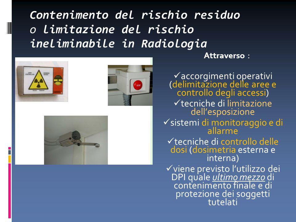 Contenimento del rischio residuo o limitazione del rischio ineliminabile in Radiologia Attraverso : accorgimenti operativi (delimitazione delle aree e