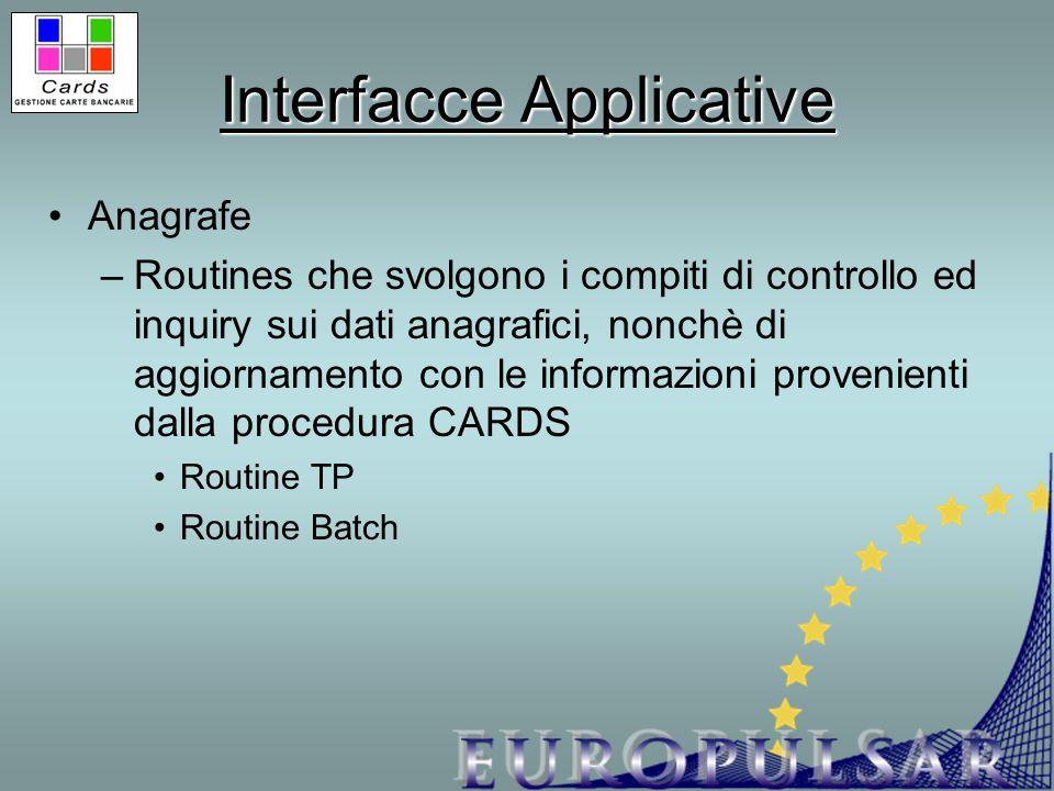 Interfacce Applicative Anagrafe –Routines che svolgono i compiti di controllo ed inquiry sui dati anagrafici, nonchè di aggiornamento con le informazi
