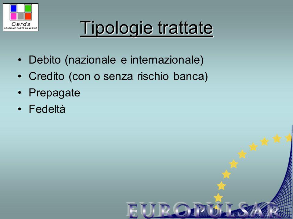 Tipologie trattate Debito (nazionale e internazionale) Credito (con o senza rischio banca) Prepagate Fedeltà