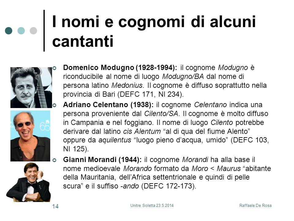 Raffaele De RosaUnitre Soletta 23.5.2014 14 I nomi e cognomi di alcuni cantanti Domenico Modugno (1928-1994): il cognome Modugno è riconducibile al nome di luogo Modugno/BA dal nome di persona latino Medonius.