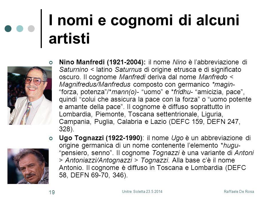 Raffaele De RosaUnitre Soletta 23.5.2014 19 I nomi e cognomi di alcuni artisti Nino Manfredi (1921-2004): il nome Nino è l'abbreviazione di Saturnino < latino Saturnus di origine etrusca e di significato oscuro.