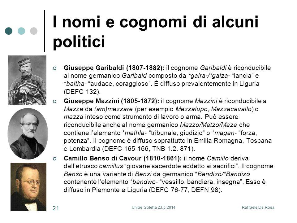 Raffaele De RosaUnitre Soletta 23.5.2014 21 I nomi e cognomi di alcuni politici Giuseppe Garibaldi (1807-1882): il cognome Garibaldi è riconducibile a