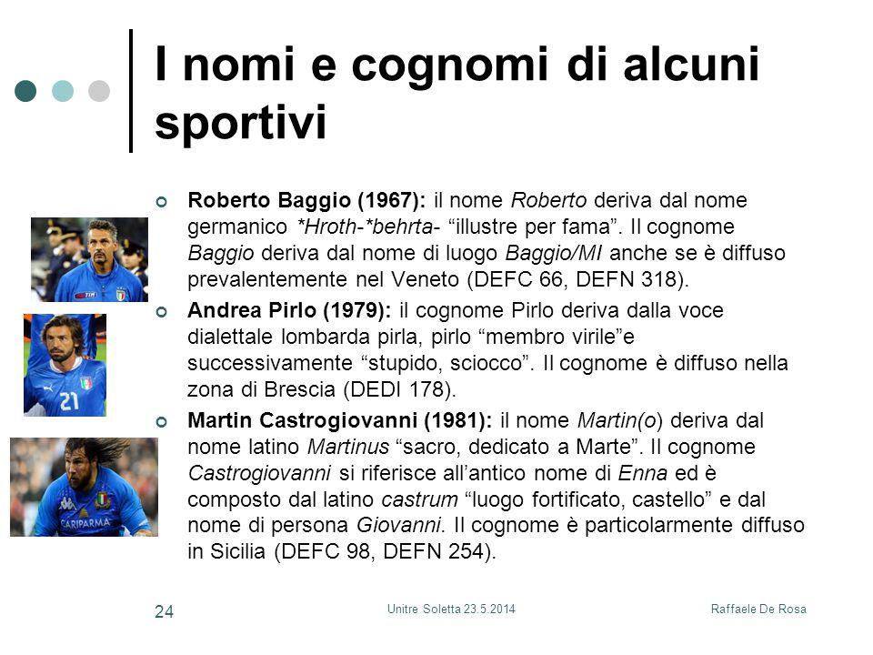 Raffaele De RosaUnitre Soletta 23.5.2014 24 I nomi e cognomi di alcuni sportivi Roberto Baggio (1967): il nome Roberto deriva dal nome germanico *Hrot