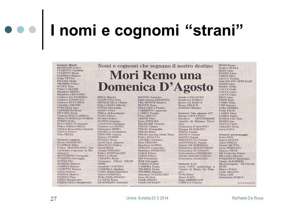 """Raffaele De RosaUnitre Soletta 23.5.2014 27 I nomi e cognomi """"strani"""""""