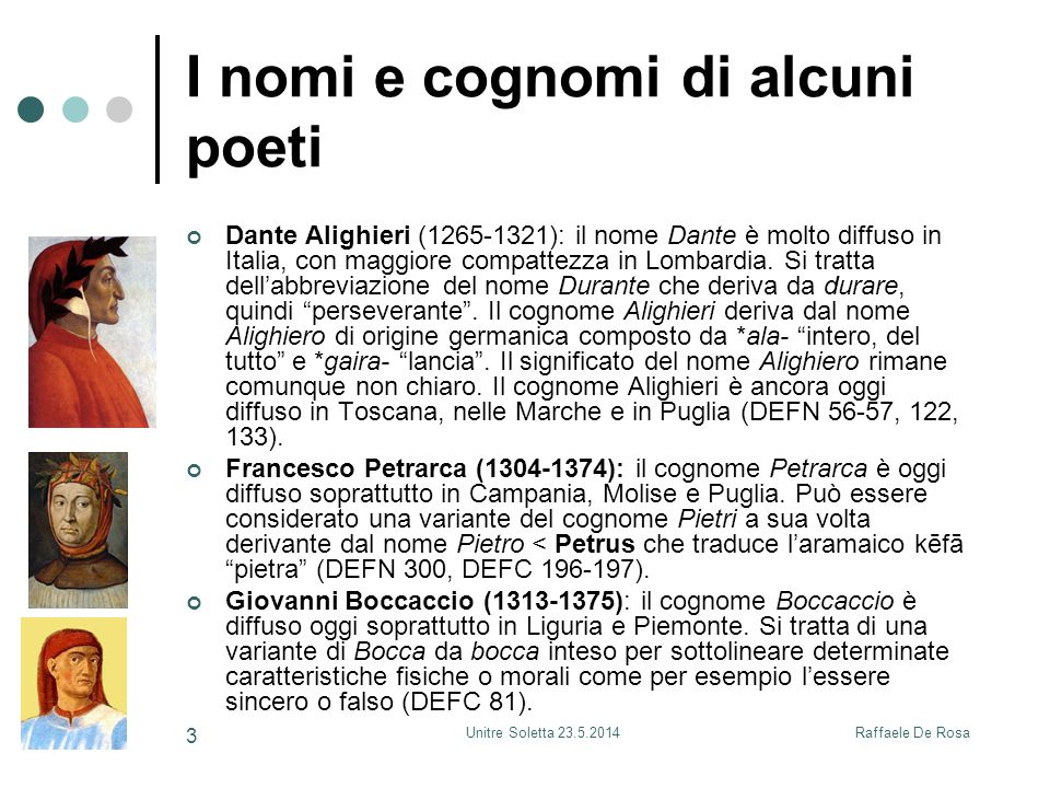 Raffaele De RosaUnitre Soletta 23.5.2014 3 I nomi e cognomi di alcuni poeti Dante Alighieri (1265-1321): il nome Dante è molto diffuso in Italia, con