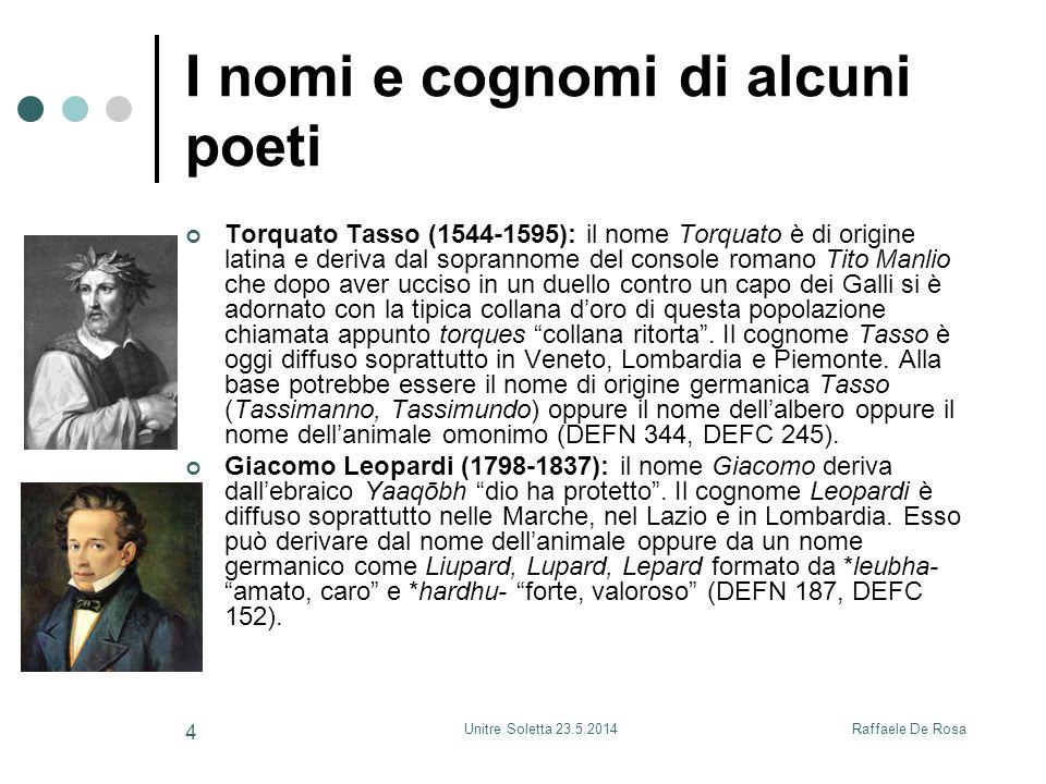 Raffaele De RosaUnitre Soletta 23.5.2014 4 I nomi e cognomi di alcuni poeti Torquato Tasso (1544-1595): il nome Torquato è di origine latina e deriva