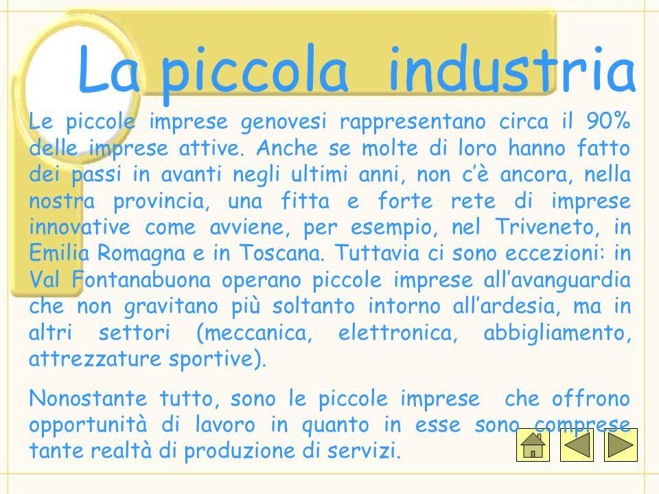 La piccola industria Le piccole imprese genovesi rappresentano circa il 90% delle imprese attive. Anche se molte di loro hanno fatto dei passi in avan