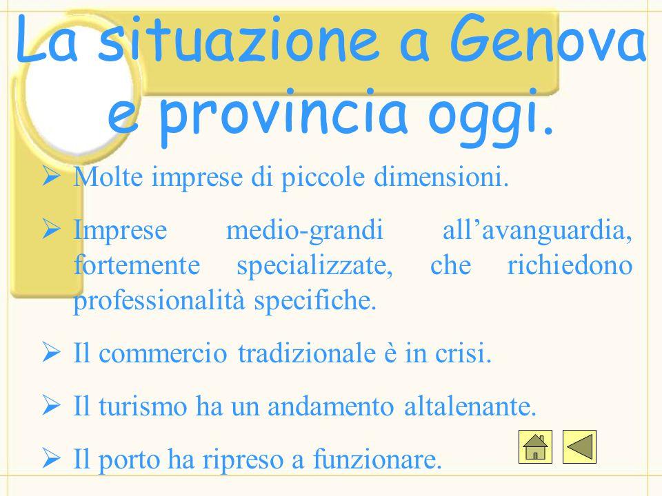 La situazione a Genova e provincia oggi.  Molte imprese di piccole dimensioni.  Imprese medio-grandi all'avanguardia, fortemente specializzate, che