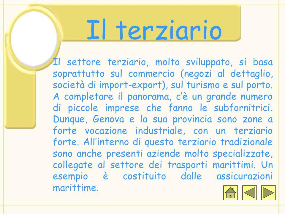 Il terziario Il settore terziario, molto sviluppato, si basa soprattutto sul commercio (negozi al dettaglio, società di import-export), sul turismo e