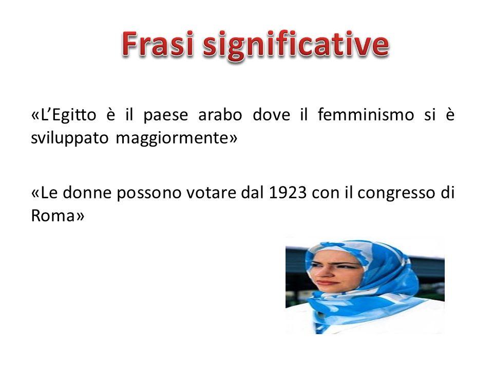 «L'Egitto è il paese arabo dove il femminismo si è sviluppato maggiormente» «Le donne possono votare dal 1923 con il congresso di Roma»