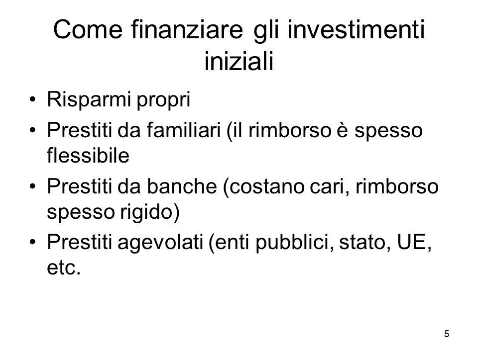 5 Come finanziare gli investimenti iniziali Risparmi propri Prestiti da familiari (il rimborso è spesso flessibile Prestiti da banche (costano cari, rimborso spesso rigido) Prestiti agevolati (enti pubblici, stato, UE, etc.