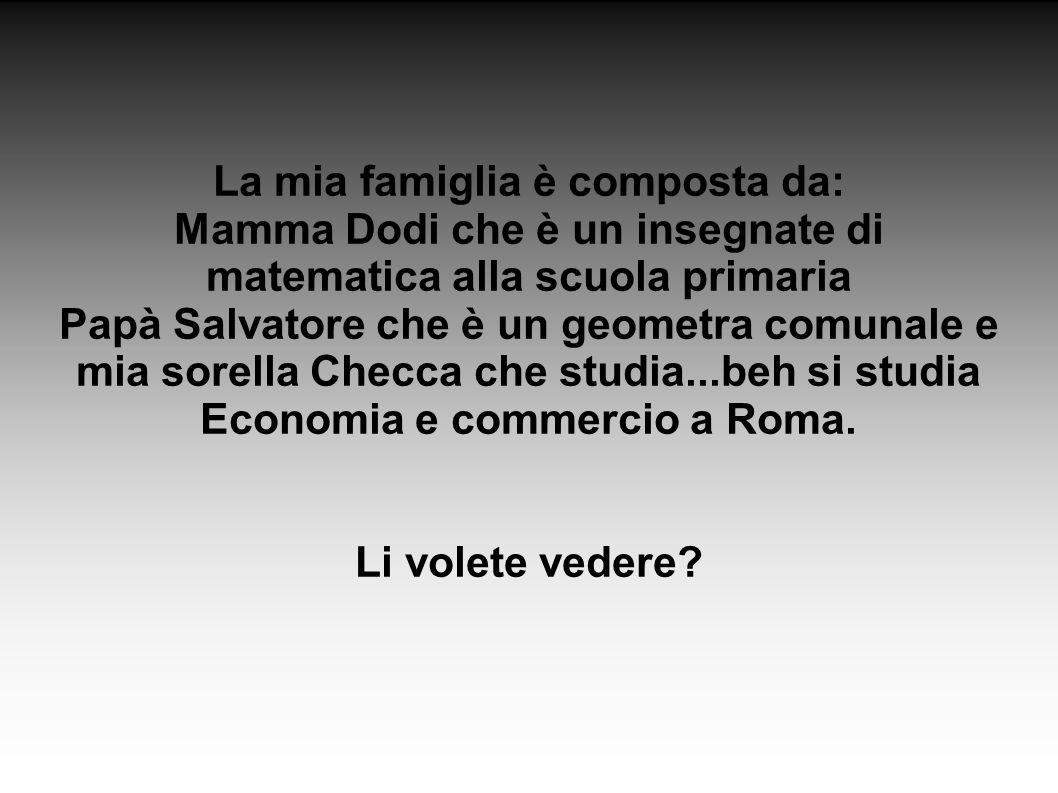 La mia famiglia è composta da: Mamma Dodi che è un insegnate di matematica alla scuola primaria Papà Salvatore che è un geometra comunale e mia sorella Checca che studia...beh si studia Economia e commercio a Roma.