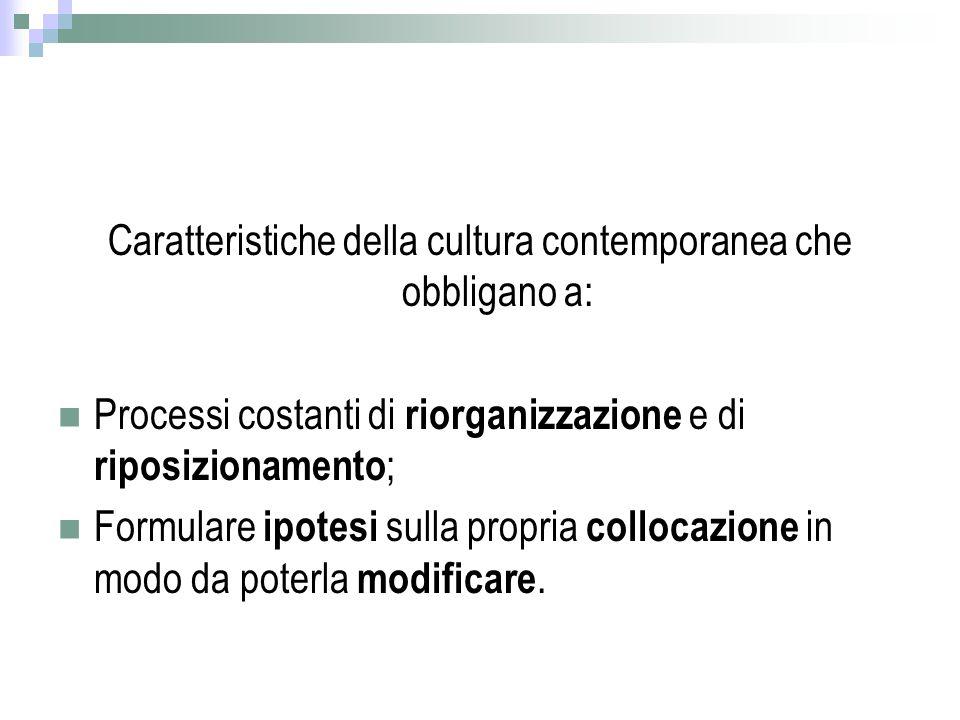Caratteristiche della cultura contemporanea che obbligano a: Processi costanti di riorganizzazione e di riposizionamento ; Formulare ipotesi sulla propria collocazione in modo da poterla modificare.