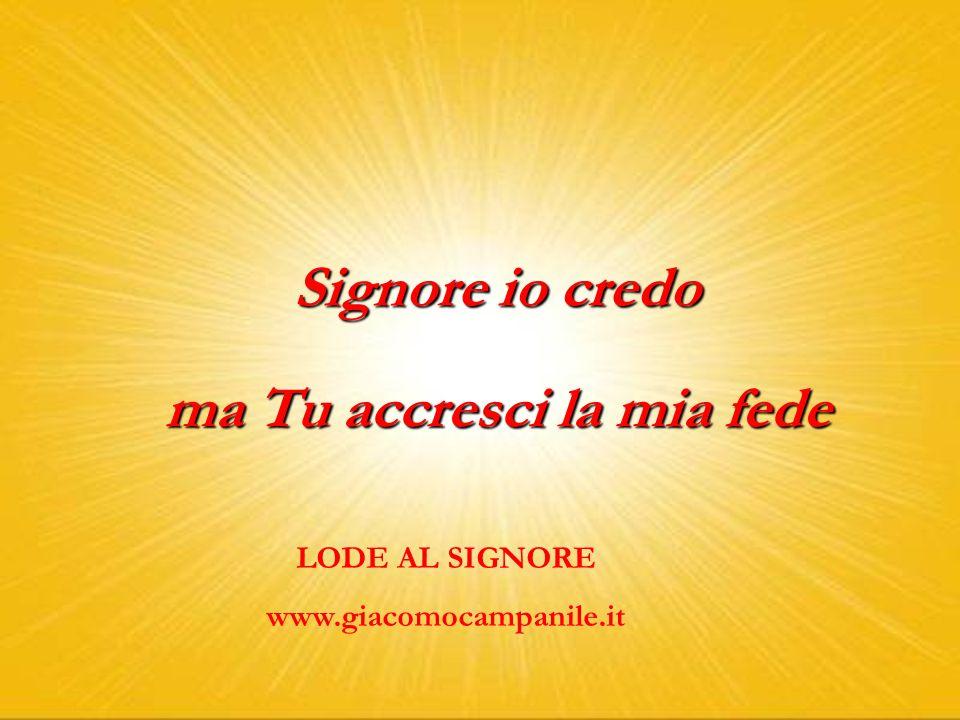 Signore io credo ma Tu accresci la mia fede LODE AL SIGNORE www.giacomocampanile.it