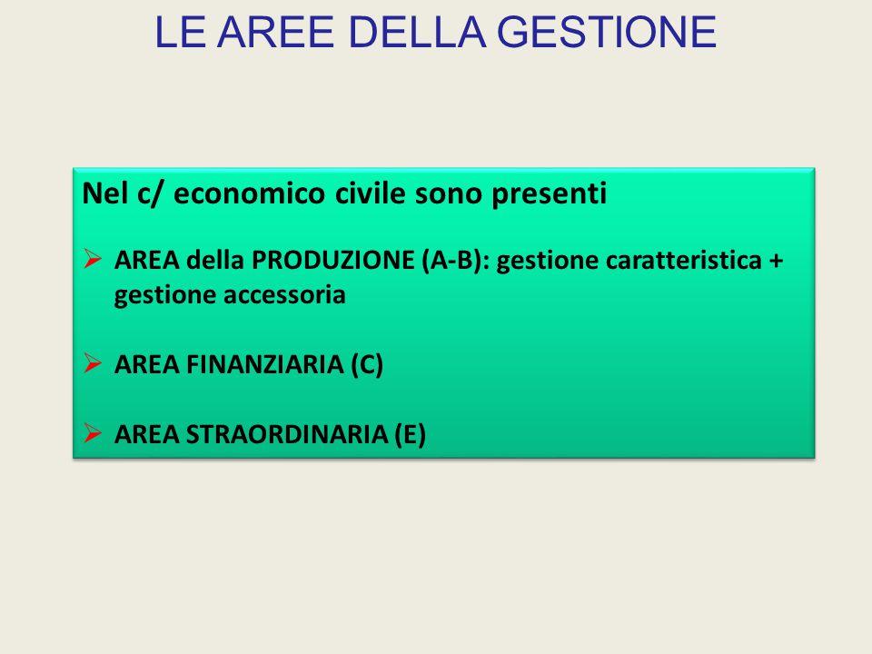 LE AREE DELLA GESTIONE Nel c/ economico civile sono presenti  AREA della PRODUZIONE (A-B): gestione caratteristica + gestione accessoria  AREA FINANZIARIA (C)  AREA STRAORDINARIA (E) Nel c/ economico civile sono presenti  AREA della PRODUZIONE (A-B): gestione caratteristica + gestione accessoria  AREA FINANZIARIA (C)  AREA STRAORDINARIA (E)