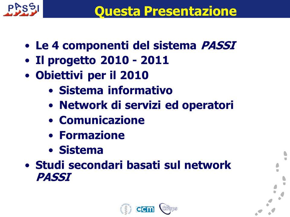 Questa Presentazione Le 4 componenti del sistema PASSI Il progetto 2010 - 2011 Obiettivi per il 2010 Sistema informativo Network di servizi ed operatori Comunicazione Formazione Sistema Studi secondari basati sul network PASSI