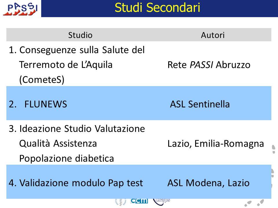 Studi Secondari StudioAutori 1. Conseguenze sulla Salute del Terremoto de L'Aquila (CometeS) Rete PASSI Abruzzo 2.FLUNEWSASL Sentinella 3. Ideazione S