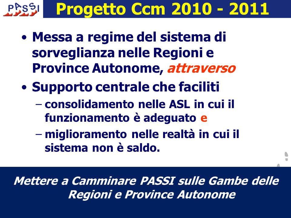 Progetto Ccm 2010 - 2011 Messa a regime del sistema di sorveglianza nelle Regioni e Province Autonome, attraverso Supporto centrale che faciliti –consolidamento nelle ASL in cui il funzionamento è adeguato e –miglioramento nelle realtà in cui il sistema non è saldo.