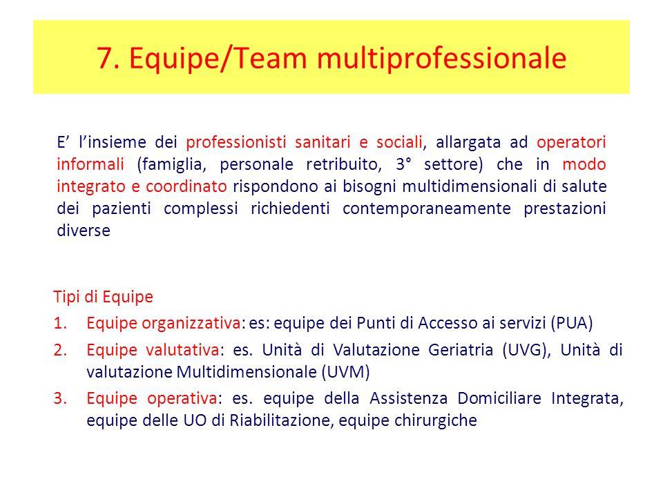 7. Equipe/Team multiprofessionale E' l'insieme dei professionisti sanitari e sociali, allargata ad operatori informali (famiglia, personale retribuito