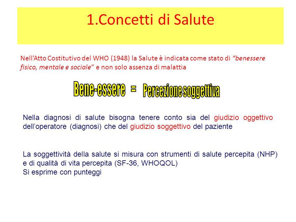 """1.Concetti di Salute Nell'Atto Costitutivo del WHO (1948) la Salute è indicata come stato di """"benessere fisico, mentale e sociale"""" e non solo assenza"""