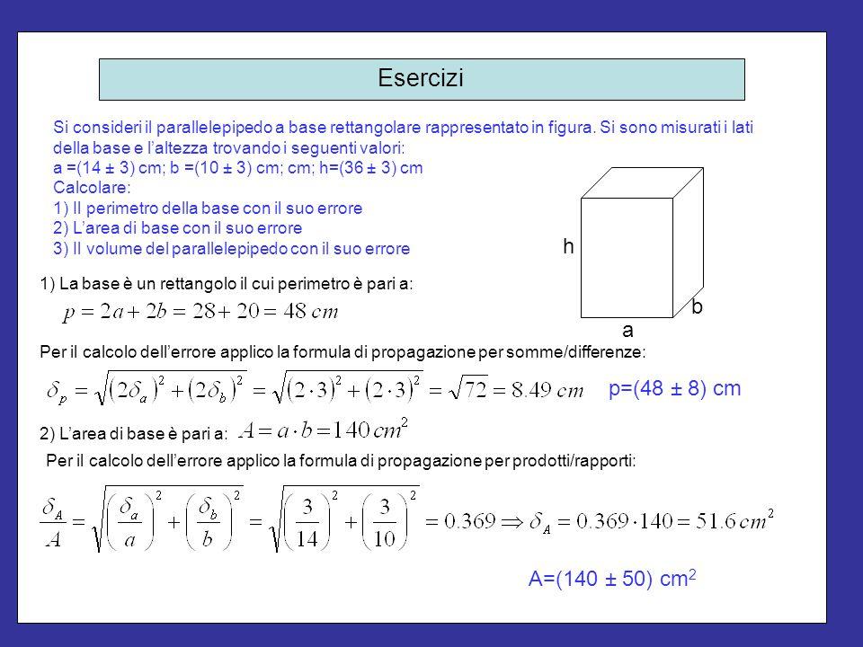 Esercizi Si consideri il parallelepipedo a base rettangolare rappresentato in figura. Si sono misurati i lati della base e l'altezza trovando i seguen