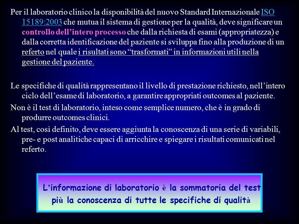 Per il laboratorio clinico la disponibilità del nuovo Standard Internazionale ISO 15189:2003 che mutua il sistema di gestione per la qualità, deve sig