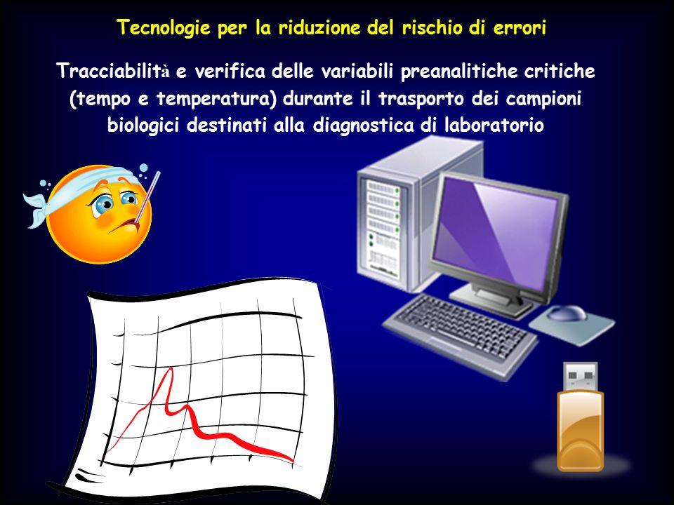 Tecnologie per la riduzione del rischio di errori Tracciabilit à e verifica delle variabili preanalitiche critiche (tempo e temperatura) durante il tr