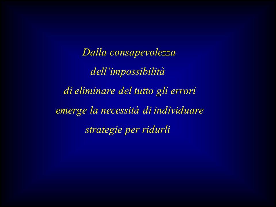 Dalla consapevolezza dell'impossibilità di eliminare del tutto gli errori emerge la necessità di individuare strategie per ridurli