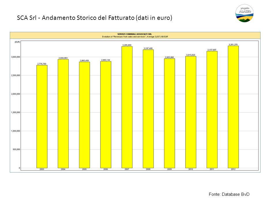 SCA Srl - Andamento Storico del Fatturato (dati in euro) Fonte: Database BvD