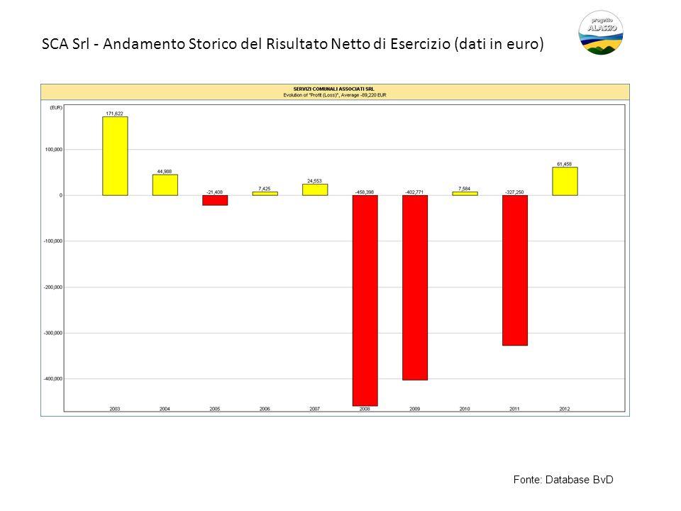 SCA Srl - Andamento Storico del Risultato Netto di Esercizio (dati in euro) Fonte: Database BvD