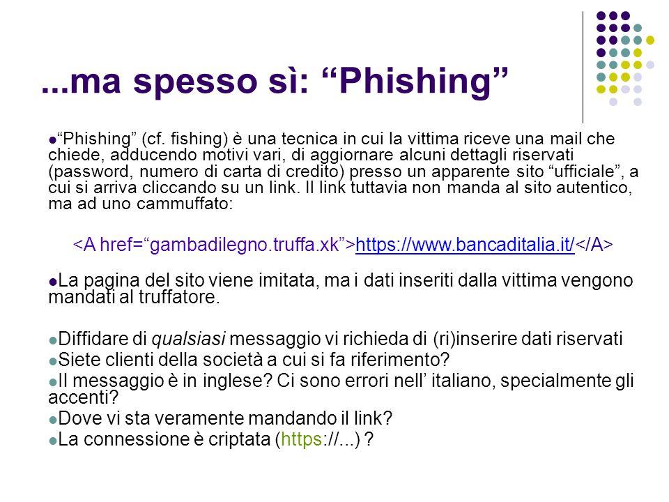 """...ma spesso sì: """"Phishing"""" """"Phishing"""" (cf. fishing) è una tecnica in cui la vittima riceve una mail che chiede, adducendo motivi vari, di aggiornare"""