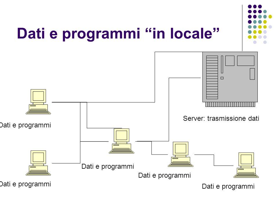 """Dati e programmi """"in locale"""" Dati e programmi Server: trasmissione dati"""