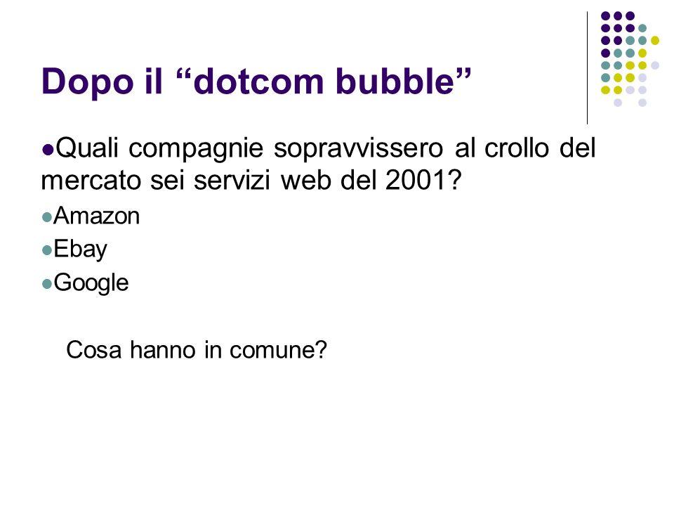 """Dopo il """"dotcom bubble"""" Quali compagnie sopravvissero al crollo del mercato sei servizi web del 2001? Amazon Ebay Google Cosa hanno in comune?"""