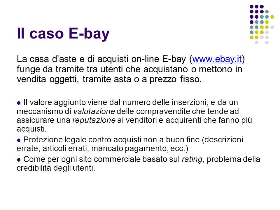 Il caso E-bay La casa d'aste e di acquisti on-line E-bay (www.ebay.it) funge da tramite tra utenti che acquistano o mettono in vendita oggetti, tramit