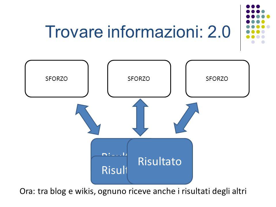 Trovare informazioni: 2.0 SFORZO Risultato SFORZO Risultato SFORZO Risultato Ora: tra blog e wikis, ognuno riceve anche i risultati degli altri