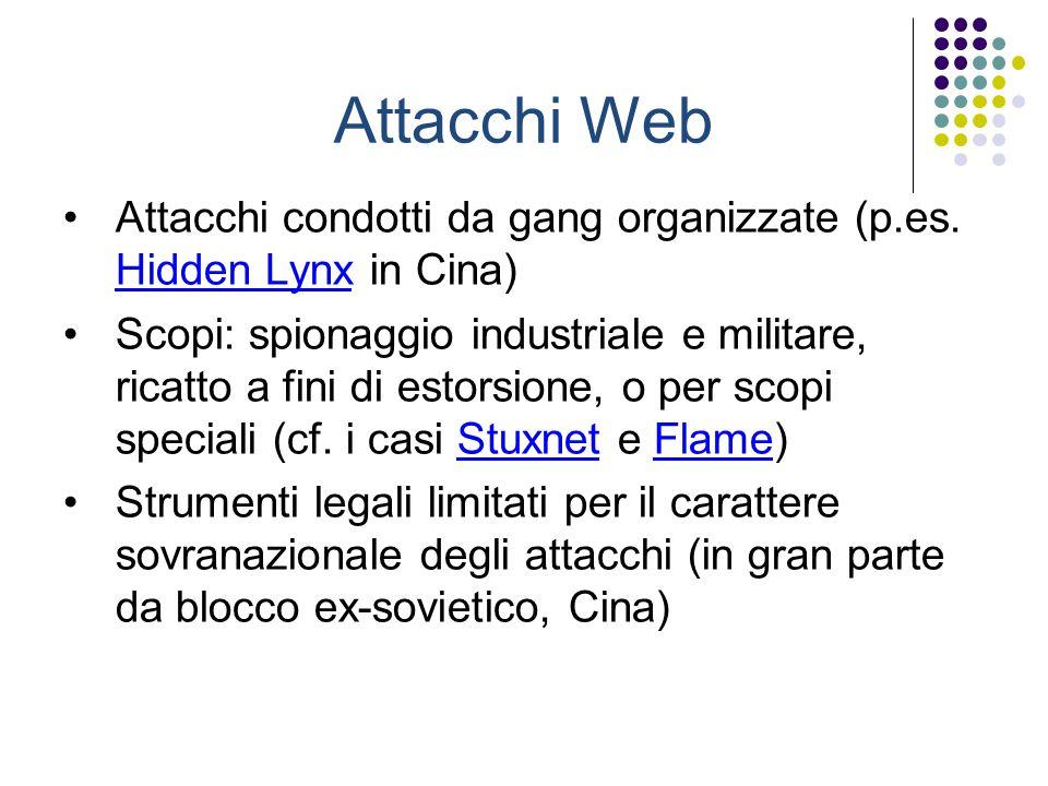 Attacchi Web Attacchi condotti da gang organizzate (p.es. Hidden Lynx in Cina) Hidden Lynx Scopi: spionaggio industriale e militare, ricatto a fini di